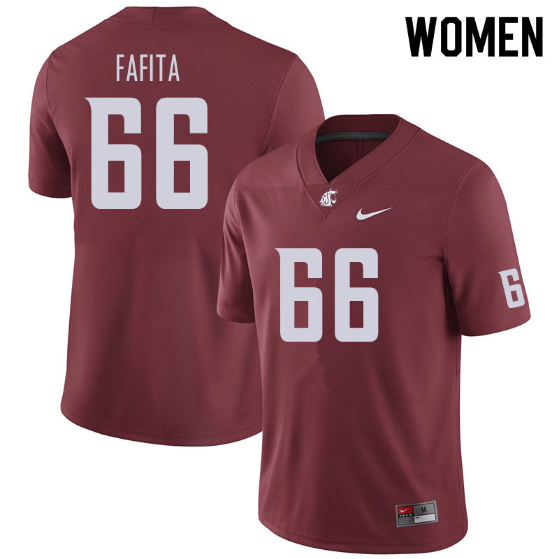 Women #66 Ma'ake Fafita Washington State Cougars Football Jerseys Sale-Crimson